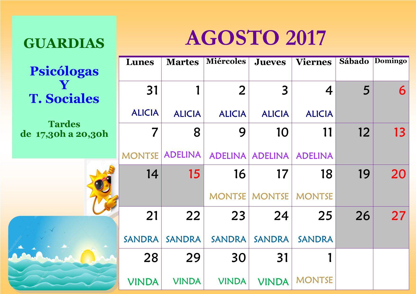 Calendario de guardias ACLAFEBA de agosto 2017