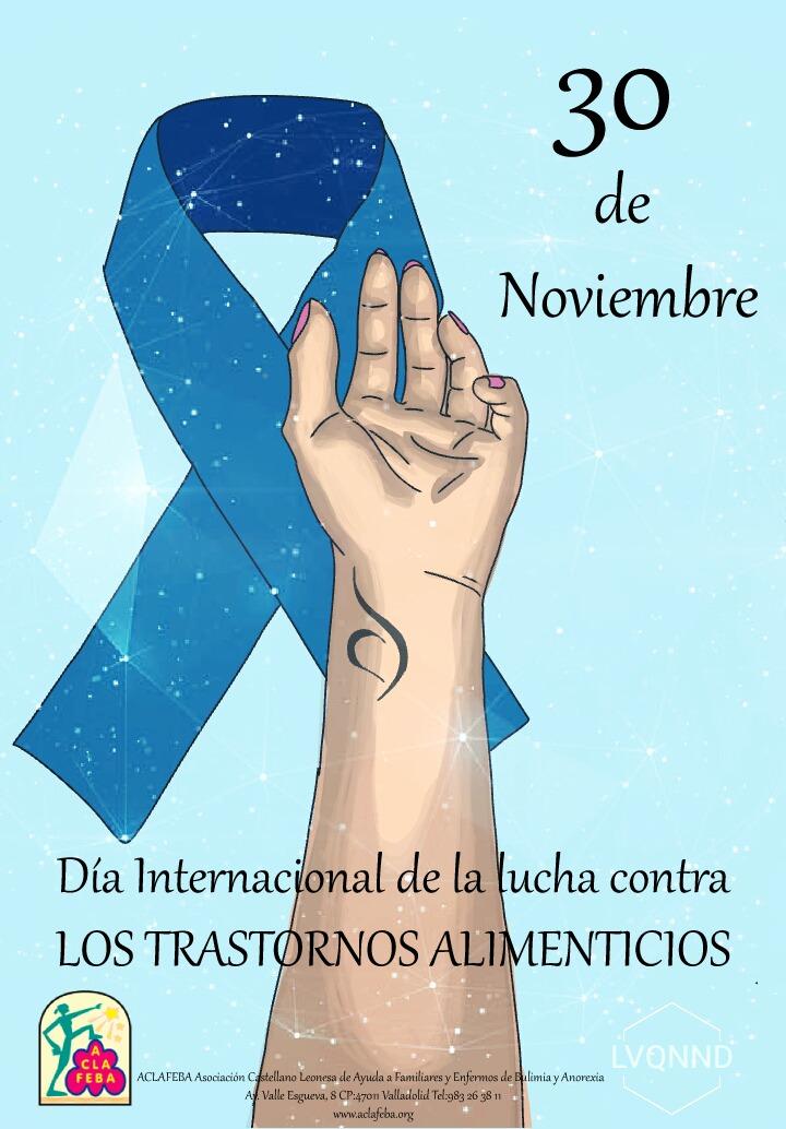 Imagen del lazo que simboliza el día de los trastornos de alimentación y una mano en la que se ve el símbolo de recuperación de TCA