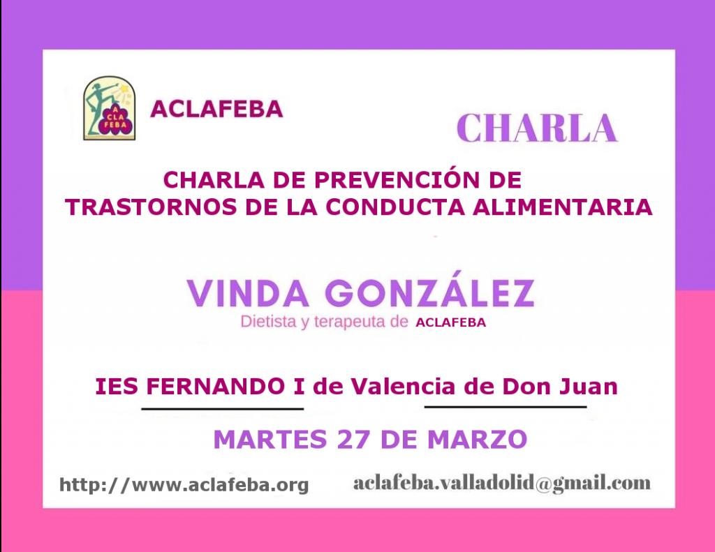 Cartel de la charla en el ies Fernado I de Valencia de Don Juan